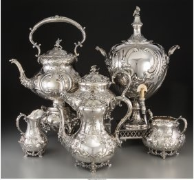 61207: A Six-Piece English Silver-Plated Tea and Coffee