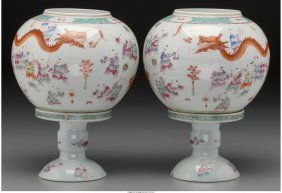 61310: A Pair of Chinese Porcelain Lanterns on Stands,