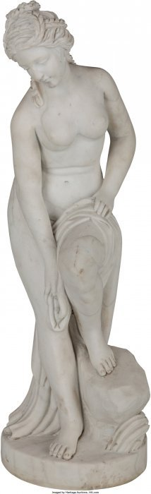 61041: A Carved Marble Figure of a Roman Woman Bathing