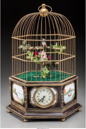 61126: A Brass and Bronze Mounted Birdcage Automaton, 2
