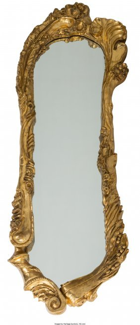 61127: A Large Art Nouveau Giltwood Mirror, early 20th