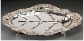 61222: A Gorham Silver Meat Serving Tray with Tree Well