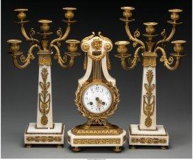 61132: A Three-Piece Louis XVI-Style Gilt Bronze Mounte