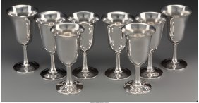 61228: Eight Wallace Silver Water Goblets, Wallingford,