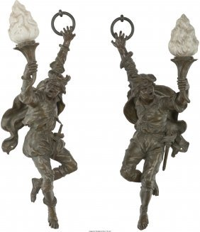 61135: A Pair of Continental Bronze Figural Single-Ligh