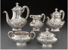 61229: A Five-Piece Gorham Buttercup Pattern Silver Tea