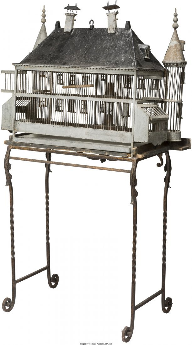 61136: A Large French Chateau-Form Painted Birdcage on  - 2