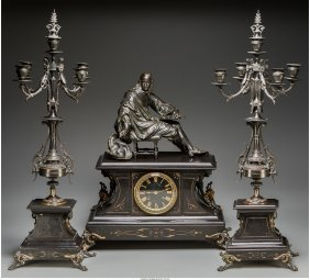 61139: A French Renaissance Revival Patinated Bronze an
