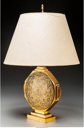61350: A Gilt Bronze and Champlevé Table Lamp, 20th ce