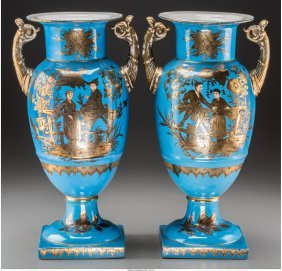 61145: A Pair of Partial Gilt Porcelain Urns with Chino