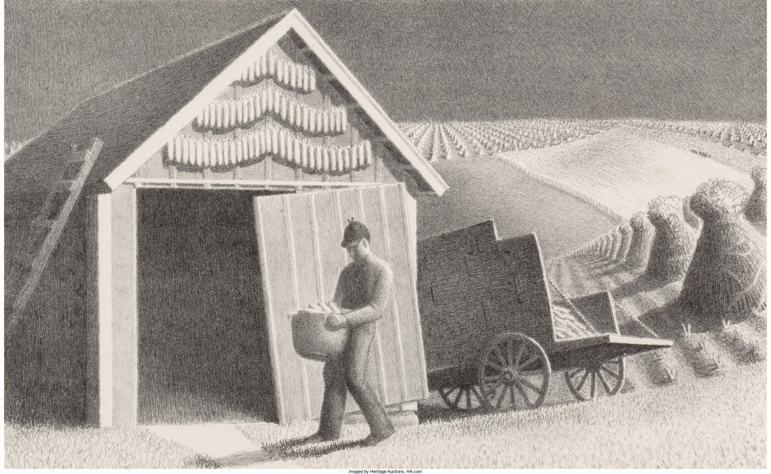 61438: Grant Wood (American, 1891-1942) Seed Time and H