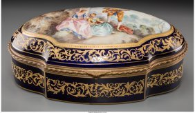 61151: A Large Sevres-Style Porcelain and Gilt Bronze-M