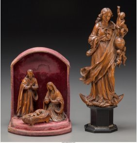 61089: Two German Carved Boxwood Religious Groups: Mado