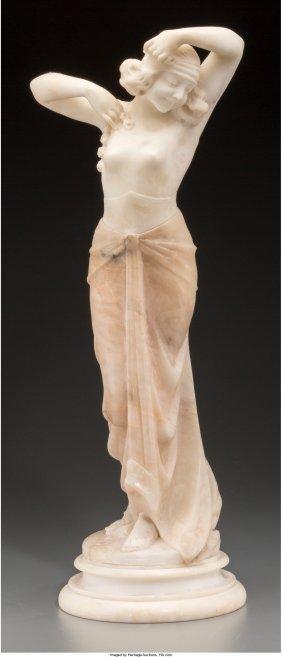 61255: An Art Deco Carved Alabaster Figure: Female Danc