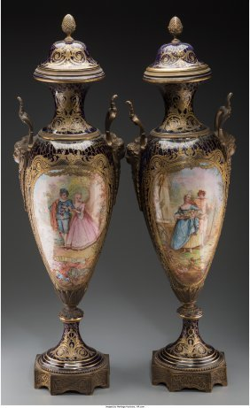 61165: A Pair of Sevres-Style Porcelain and Gilt-Bronze