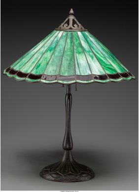 61261: A Handel Copper, Bronze and Leaded Glass Table L