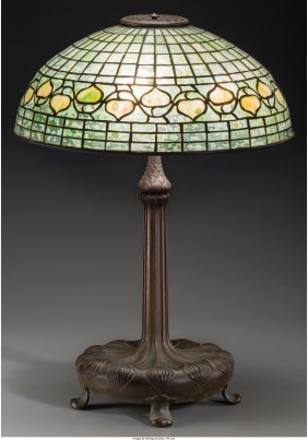 61263: A Tiffany Studios Leaded Glass and Bronze Acorn