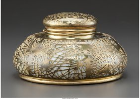 61264: A Tiffany Studios Glass and Gilt Bronze Pine Nee