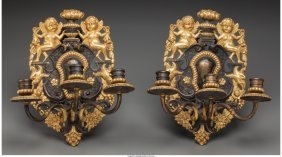 61180: A Pair of Baroque-Style Patinated and Gilt Bronz
