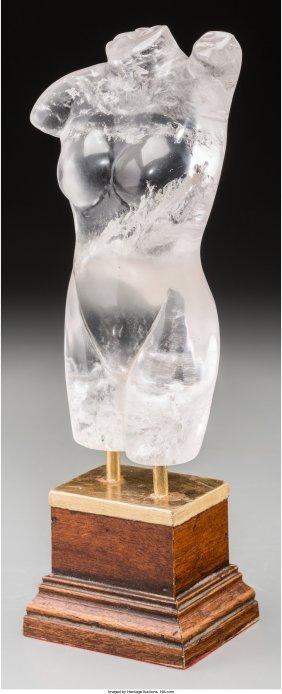 61277: A Carved Rock Crystal Torso on Wooden Base, 21st