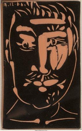 61503: Pablo Picasso (Spanish, 1881-1973) Visage d'homm