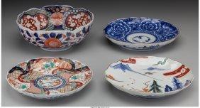 61636: Four Japanese Imari Porcelain Pieces 8-1/2 inche