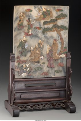 61570: A Chinese Marble Table Screen Inlaid with Hardst