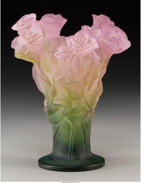 61713: A Daum Pink and Green Pate-de-Verre Glass Roses