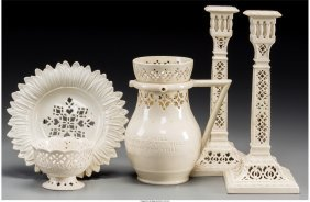 61797: Five Leeds Pottery Reticulated Creamwares: Puzzl