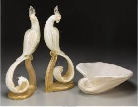 61715: A Pair of Murano Glass Exotic Bird Figures with