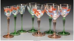 61716: Eight German Theresiental Enameled and Gilt Glas