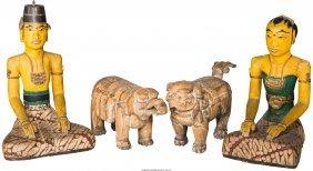 61660: Four Southeast Asian Wood Carvings: Elephant, Fo