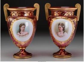 61722: A Pair of Austrian Gilt Cranberry Glass Vases wi