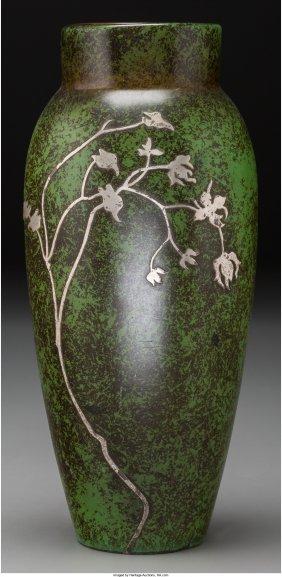 61723: A Heintz Silver of Copper Floral Vase, Buffalo,