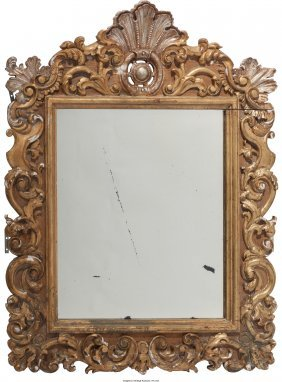 61671: A Louis XV-Style Gesso and Giltwood Mirror, 19th