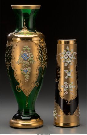 61733: Two Bavarian Painted and Partial Gilt Glass Vase