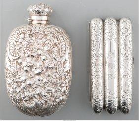 61831: A Silver Gorham Flask and Webster Co. Cigar Case