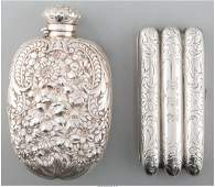 61831 A Silver Gorham Flask and Webster Co Cigar Case