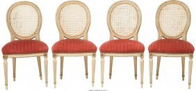 61689: Four Louis XVI-Style Painted and Caned Chairs wi
