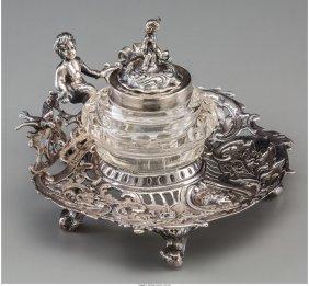 61882: A Hanau Silver Figural Inkwell, late 19th-early