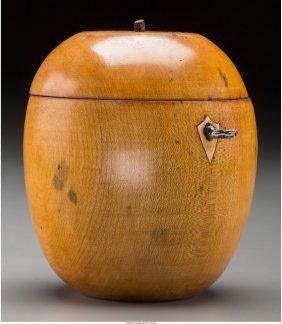 61967: A George III Fruitwood Apple-Form Tea Caddy, ear