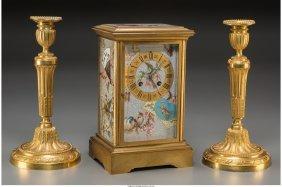 61695: A Cloisonné and Gilt Bronze Mantel Clock with a