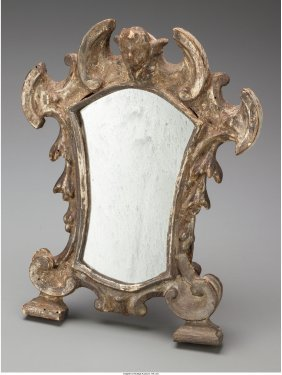 61697: An Italian Baroque Silvered Wood Table Mirror, l