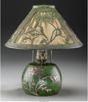 61700: A Heintz Patinated Bronze Poppy Boudoir Lamp wit