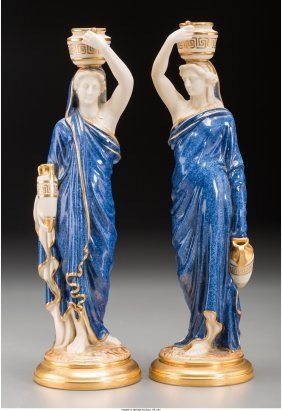 61760: Two Royal Worcester Neoclassical Porcelain Figur