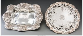 61894: A Gorham Silver Pierced Tray and a Floral Servin
