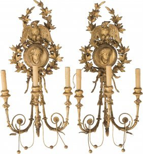 61705: A Pair of French Neoclassical Carved and Giltwoo