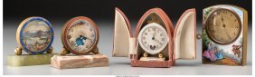 61984: A Group of Four Continental Enameled Desk Clocks