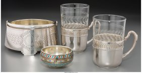 61862: Four Russian and German Silver Tablewares, late