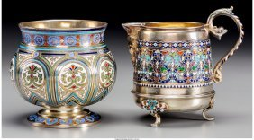 61863: A Russian Gilt Silver and Enamel Sugar Bowl with